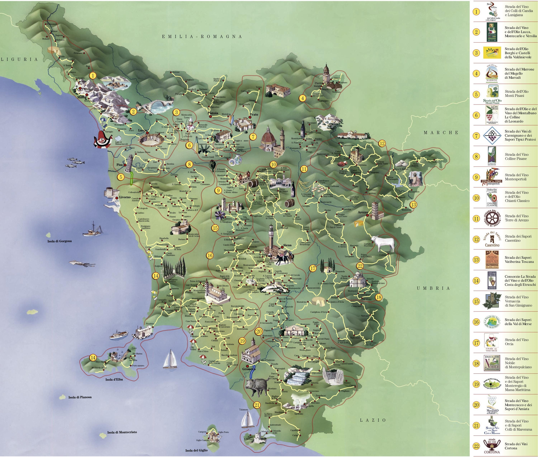 Carte touristique de la toscane vacances arts guides for Carte touristique
