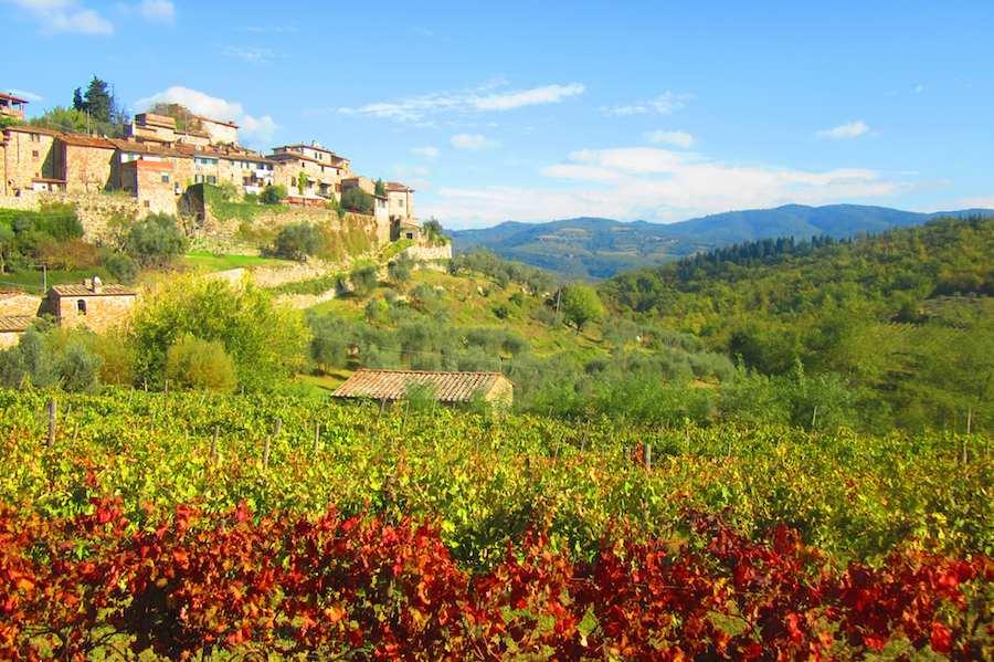 El Valle del Chianti, una explosión de colores en otoño, momento de la vendimia que dará lugar a los famosos vinos de Toscana. ⒸMaría Calvo.