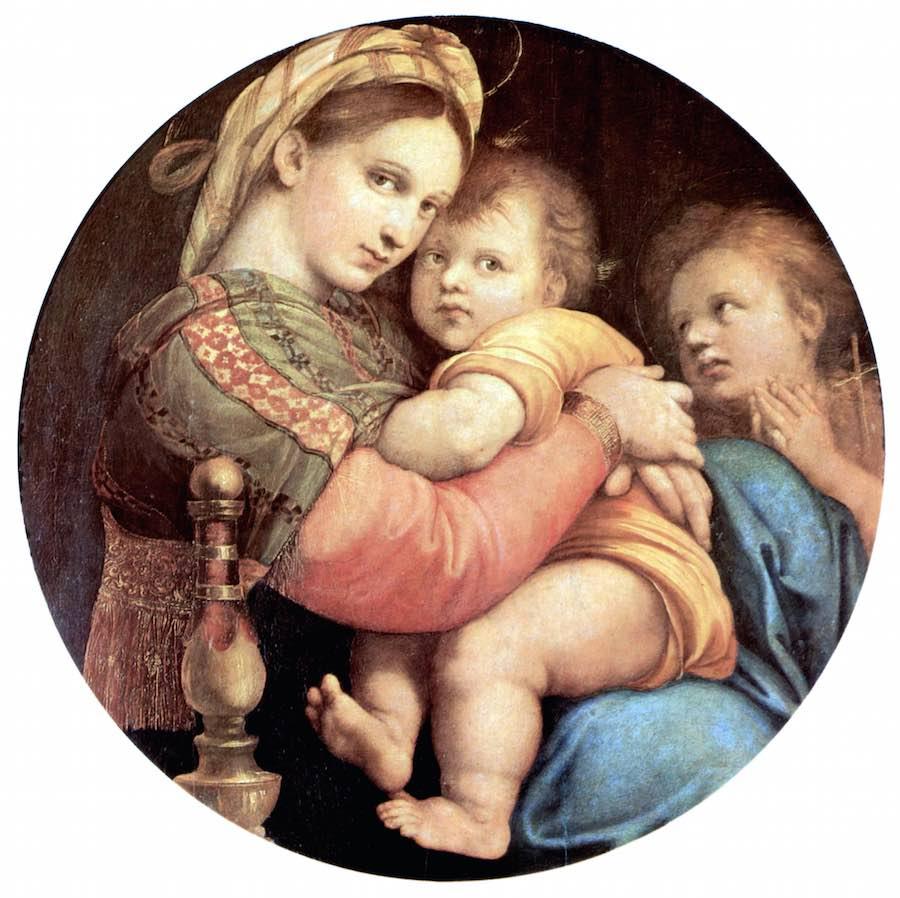 """Le tableau de Rafael """"Madonna della Seggiola"""", salle de Saturno dans la Gallerie Palatina"""
