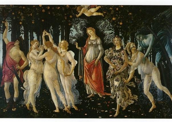Le Printemps de Botticelli, l'une des grandes oeuvres du peintre, dans la salle Botticelli, glooire de l'un des musées les plus importantes de Florence: la Gallerie des Ufficzi.
