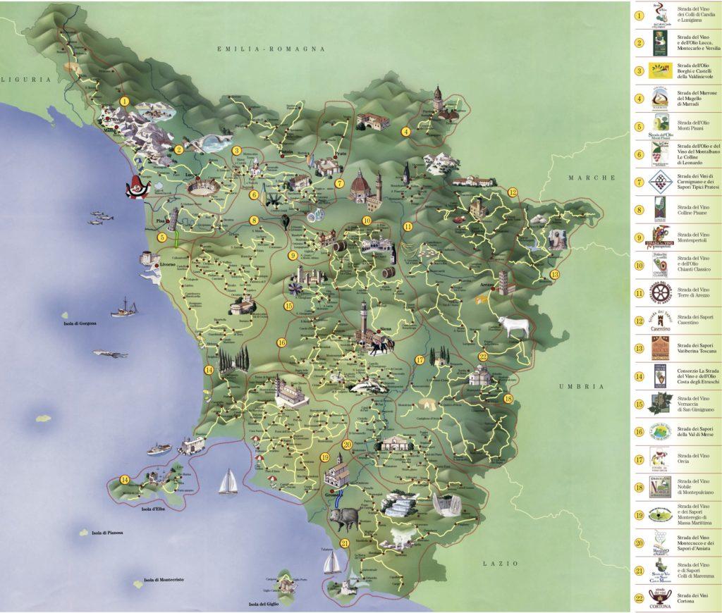 Carte touristique Toscane Italie