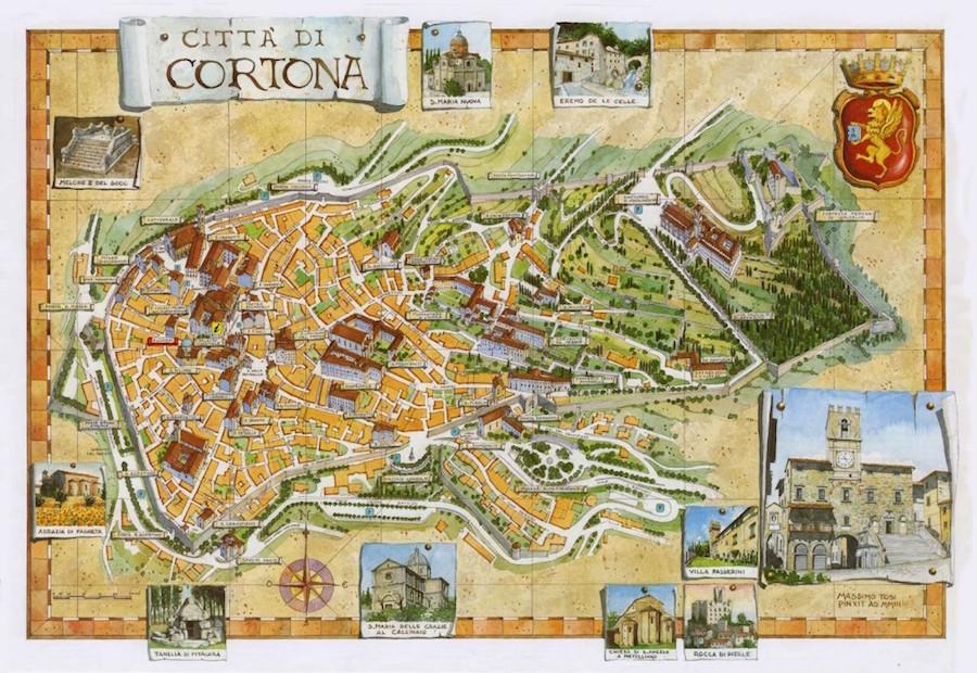 Carte de la ville de Cortone.