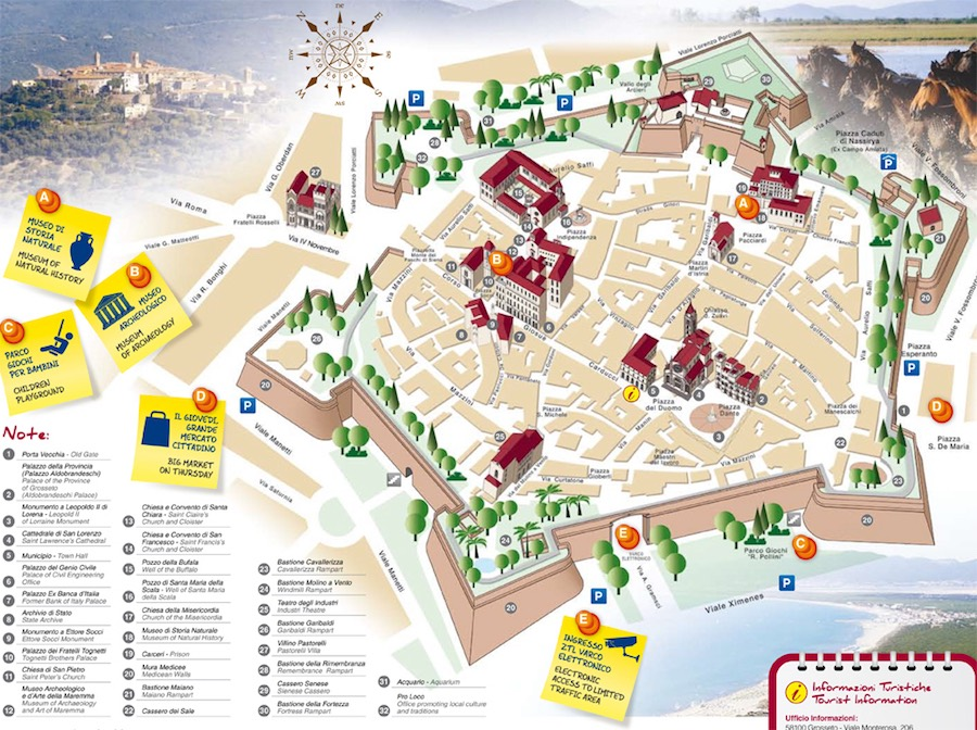 Carte de la ville de Grosseto.